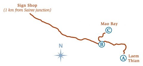 แผนที่เส้นทางเดินป่าเกาะเต่า แหลมเทียนและอ่าวเมา