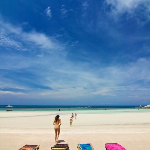 Sunbathing at Sairee Beach, Koh Tao