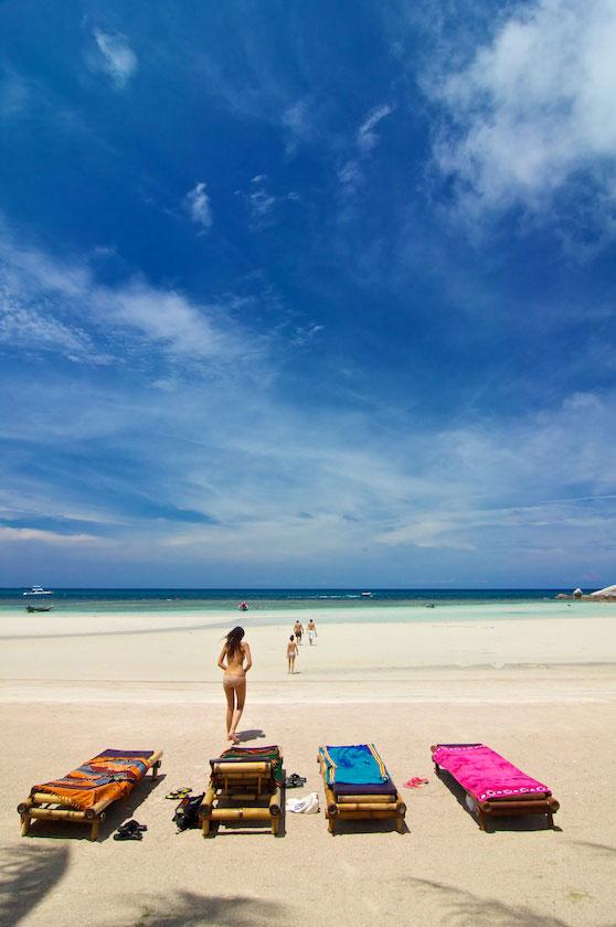 Sunbathing at Sairee Beach, Koh Tao