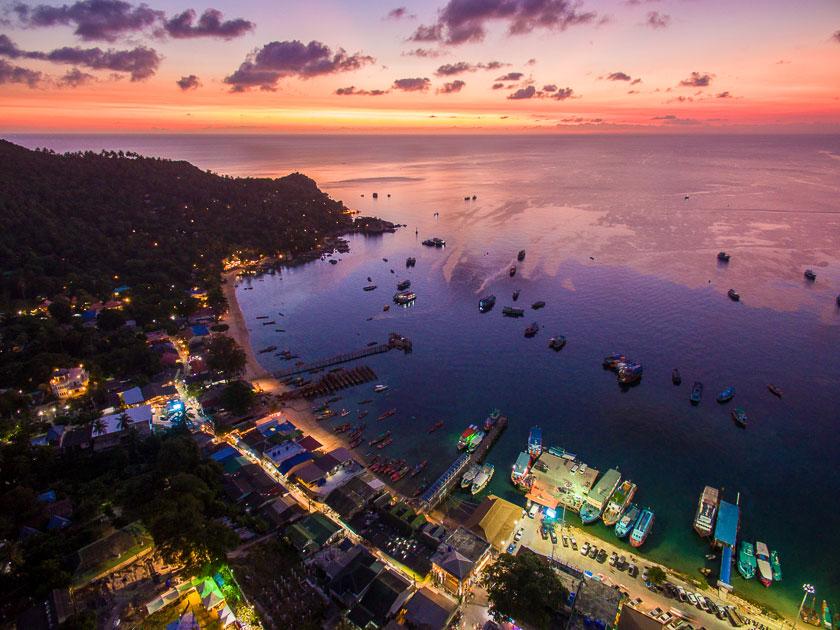 Mae Haad Bay, Koh Tao aerial photo