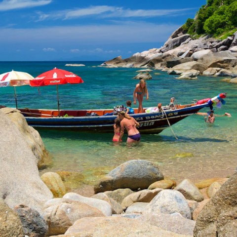 Taxi boat arriving Tanote Bay, Koh Tao