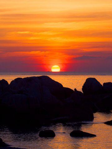 พระอาทิตย์ตกที่แหลม จ.ป.ร. หาดทรายรี เกาะเต่า