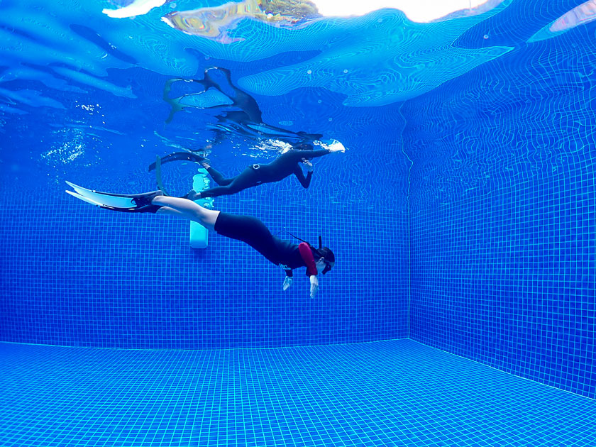 เรียนฟรีไดฟ์ที่เกาะเต่า ฝึกในสระว่ายน้ำ (Confined Water)